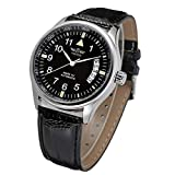 VIGOROSO Men's Sport Day Date Black Leather Automatic Self Winding Watch