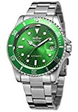 Men Automatic Mechanical Watches Full Steel Waterproof Mens Watches with Calendar (Silver Green)