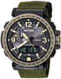 Casio Men's PRO TREK Stainless Steel Quartz Watch with Cloth Strap, Green, 30.5 (Model: PRG-600YB-3CR)