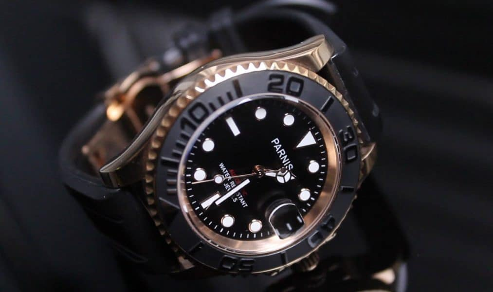Parnis Yachtmaster Rose Gold on a Hirsch Hevea rubber strap