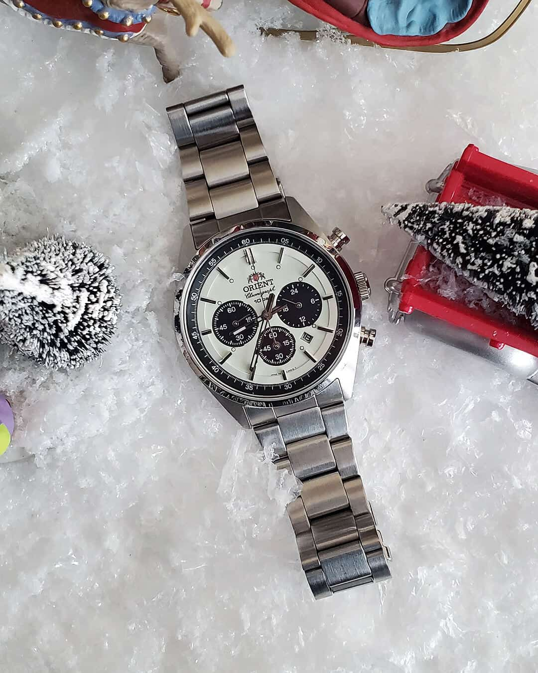 Orient Neo 70s Panda Dial Watch on stock oyster bracelet