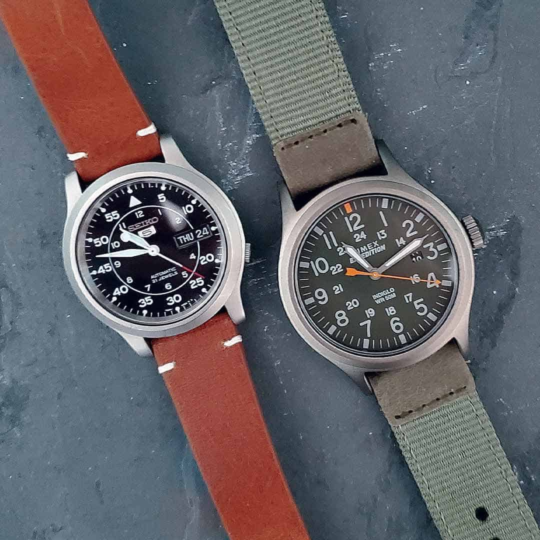 Seiko 5 SNK809 (left) and Timex Expedition (right)